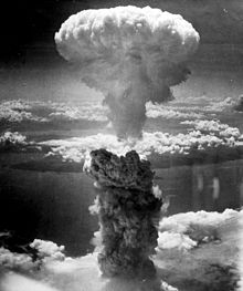 The mushroom cloud of the atomic bombing of the Japanese city of Nagasaki. Image source wikipedia.