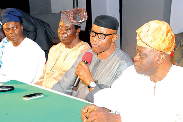 Ondo State Governor, Olusegun Mimiko (second right); Femi Ikoyi (left); Bode Ajewole and Dr. Olajide Akinyemi during the declaration by Atiku Support Group to back President Goodluck Jonathan's re-election in Akure… yesterday