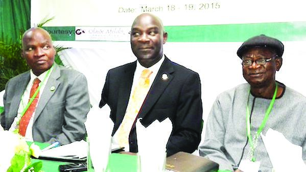 President, Nigerian Institute of Town Planners, Dr. Femi Olomola (left); President, Association of Town Planning Consultants of Nigeria (ATOPCON), Mr. Moses Ogunleye and President, Town Planners Registration Council, Prof. Layi Egunjobi at the Professional Development Workshop organised by ATOPCON in Ikeja, Lagos, last week