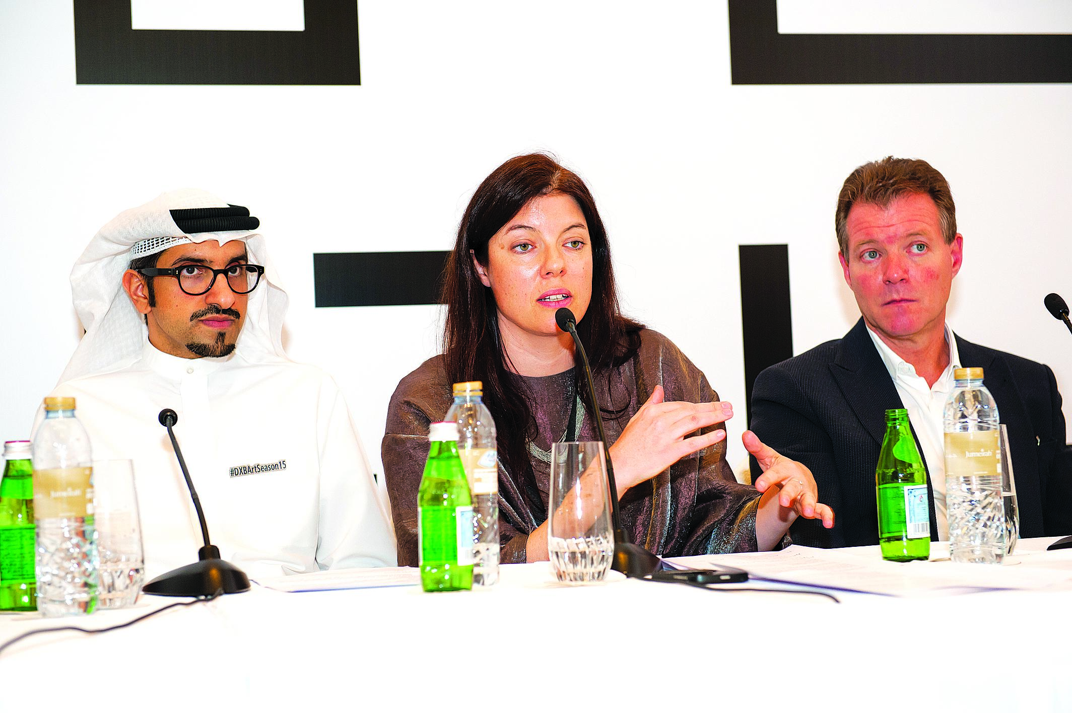 Global Art Forum moderator, Sultan Sooud Al Qassemi (left); Artistic Director at Art Dubai, Antonia Carver; and A partner at The Abraaj Group, Fred Sicre, during the preview