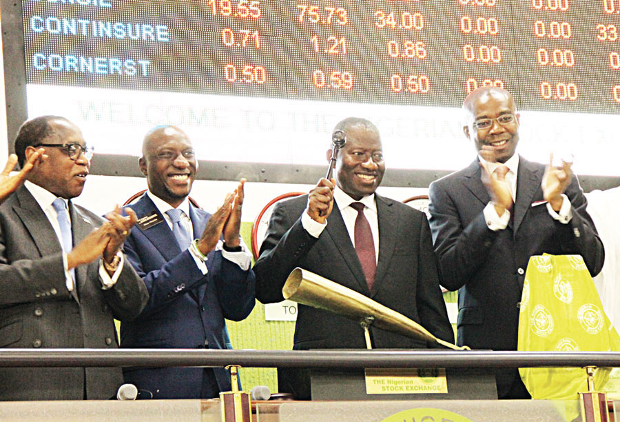 Minister of Industry, Trade and Investment, Olusegun Agaga (left); Chief Executive Officer, Nigerian Stock Exchange (NSE), Oscar N. Onyema; President Goodluck Ebele Jonathan; and the President of Council, NSE, Aigboje Aig-Imoukhuede, at the commissioning of the NSE X-Gen trading platform, at the Exchange, yseterday.