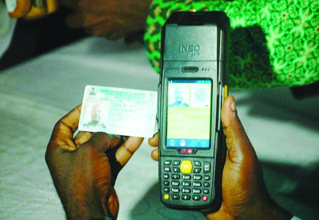 Use of the card reader being demonstrated ahead of tomorrow's election