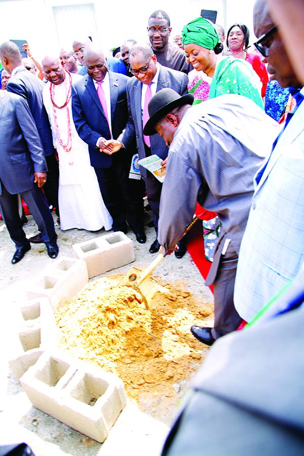 President Goodluck Jonathan at the official ground breaking ceremony of the Ogidigben Gas Industrial City and the Gbaramatu Deep Sea Port in Warri South West LGA of Delta State... yesterday.