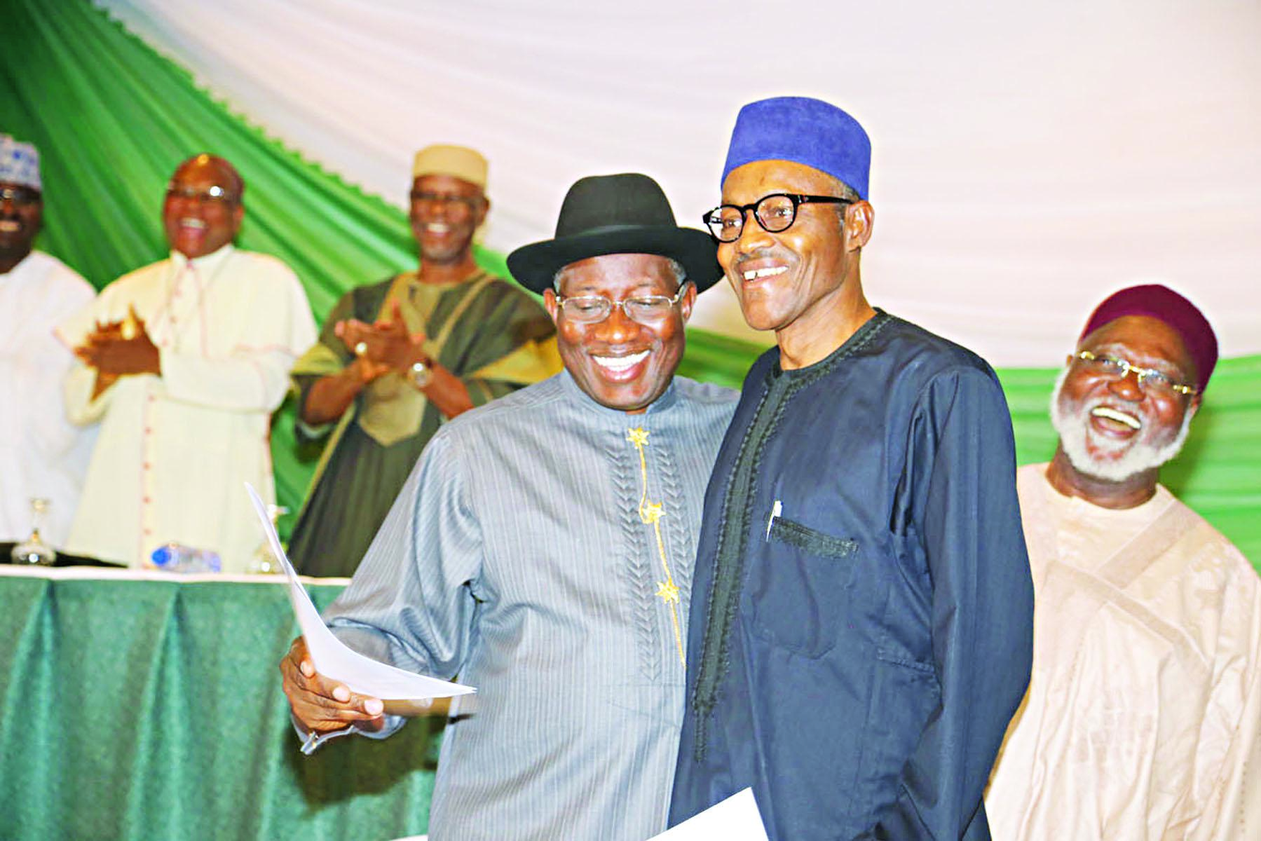 President Goodluck Jonathan and APC presidential candidate, Major-Gen. Muhammadu Buhari (rtd), after signing the renewal of a peace accord in Abuja …yesterday.