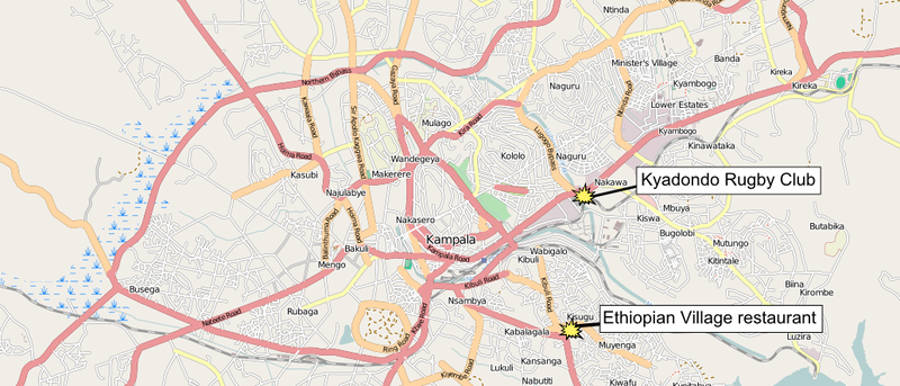 Map showing the two locations of the July 2010 Kampala attacks