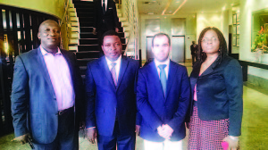 Lagos based lawyer and consultant, Mr. Tony Odiadi (left); Principal Partner Msoo Dio & Co.Ikoyi, Lagos, Msoo Dio; Chief Operating Officer,CISF Private Solutions,Lisbon,  Samuel Pier and consultant to the transaction,Mrs. Jacqueline Odiadi shortly after  the  business meeting held at Southern Sun Hotel, Ikoyi, Lagos, recently.