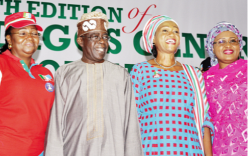 Wife of the Lagos State Governor, Mrs. Bimbola Fashola (left), former governor, Bola Ahmed Tinubu, his wife, Senator Oluremi, and wife of the All Progressives Congress (APC) presidential candidate, Mrs. Aisha Buhari at the 14th Lagos Central Senatorial District Town Hall Meeting and presentation of a book, Stewardship Report, held at MUSON Centre, Lagos…yesterday