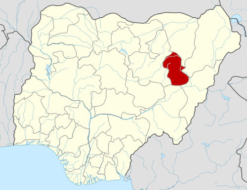 """Nigeria Gombe State map"" by Himalayan Explorer based on work by Uwe Dedering - Based on File:Nigeria location map.svg. Licensed under CC BY-SA 3.0 via Wikimedia Commons."