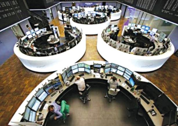 Frankfurt Stock Exchange, yesterday.