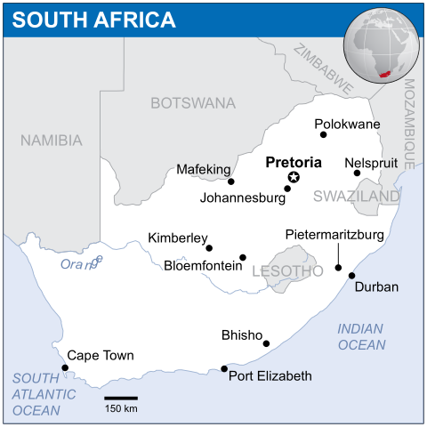 Locator map of South Africa. Source: UN Office for the Coordination of Humanitarian Affairs (OCHA)