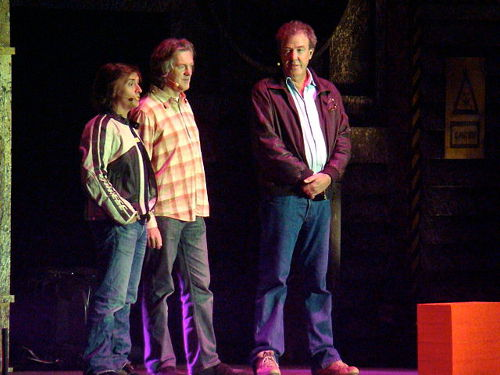 """Top Gear team Richard Hammond, James May and Jeremy Clarkson 31 October 2008"" by Phil Guest from Bournemouth, UK - Top Gear teamUploaded by Ultra7. Licensed under CC BY-SA 2.0 via Wikimedia Commons."