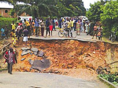 A bridge destroyed by landslide in Burundi