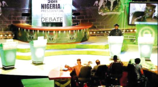 President Goodluck Jonathan debating alone during the 2011 NESG Presidential Debate session