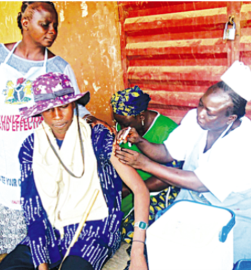 A man being immunised with meningitis vaccine by health officers during the nationwide immunization in Sokoto.            PHOTO: NAN