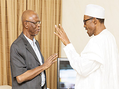 National Chairman of the All Progressives Congress (APC), Chief John Odigie Oyegun (left) and the President-elect, General Muhammadu Buhari.