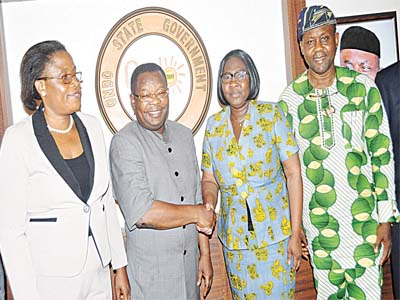Ondo State Commissioner for Women Affairs, Mrs. Yemi Mamod-Fasominu (left); Secretary to the State Government (SSG), Dr. Rotimi Adelola; Ambassador of Côte d'Ivoire to Nigeria, Toure Maman; and Senior Special Adviser to Ondo State Governor on Tourism, Dr. Wanle Akinboboye in Akure recently