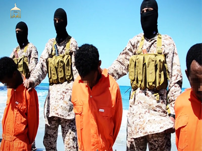 Islamic State militants, killing a group of captured Ethiopian Christians in Libya.
