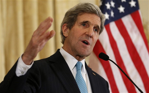 U.S. Secretary of State John Kerry speaks about the Ukraine crisis after his meetings with other foreign ministers in Paris