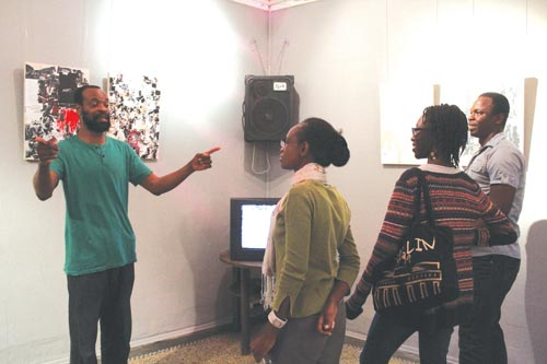 Nigeria's Uche Uzorka with art enthusiasts during Mash up the Archive session