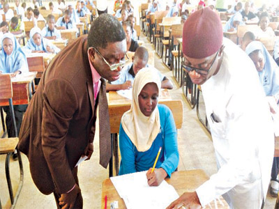 The Registrar and Chief Executive Officer, National Examination Council (NECO), Professor Monday Tommy Joshua and Permanent Secretary, Ministry of Education, MacJohn Nwaobiala, while monitoring the conduct of Common Entrance Examination into Federal Unity Schools at Government Secondary School, Wuse Zone three, Abuja… yesterday.