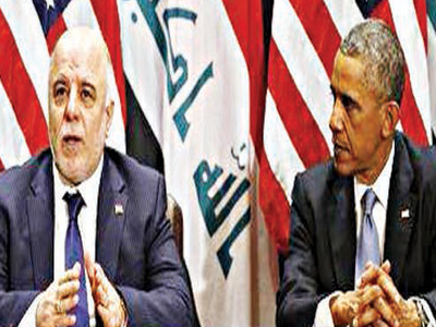 President Barack Obama meets with Iraqi Prime Minister Haider al-Abadi during the United Nations General Assembly in New York, September 24, 2014. REUTERS/Kevin Lamarque