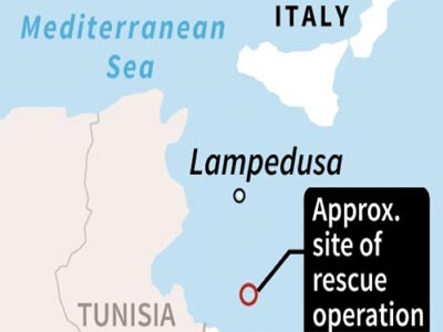 Graphic showing the location where hundreds of migrants are feared to have drowned after the fishing boat they were in capsized in the Mediterranean (AFP Photo/)