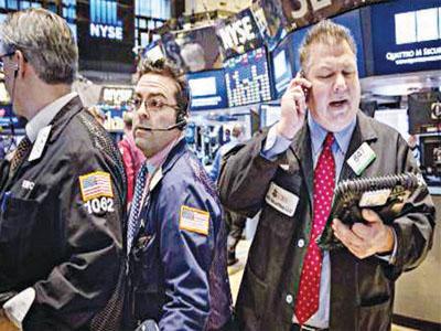 Stockbrokers on floor of New York Exchange