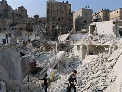 Government barrel bombs, known for an indiscriminate tendency, have killed thousands of people in Aleppo [AFP]