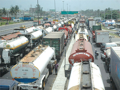 Traffic snarl on Oshodi-Apapa Expressway, recently