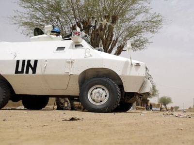 United Nations (UN) soldiers patrol in the northern Malian city of Kidal. (AFP Photo/Kenzo Tribouillard)