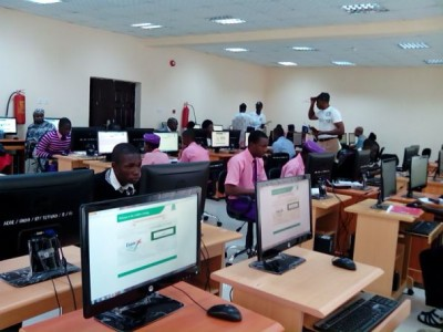 Students writing Jamb's computer based test