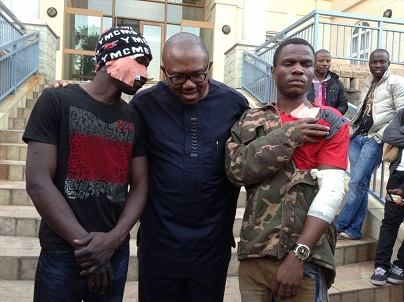 Former Governor of Anambra State, Peter Obi flanked by two victims of xenophobic attack at the Nigerian Consulate in Johannesburg, South-Africa.