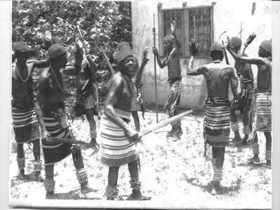 Abisua war dancers during rehearsal