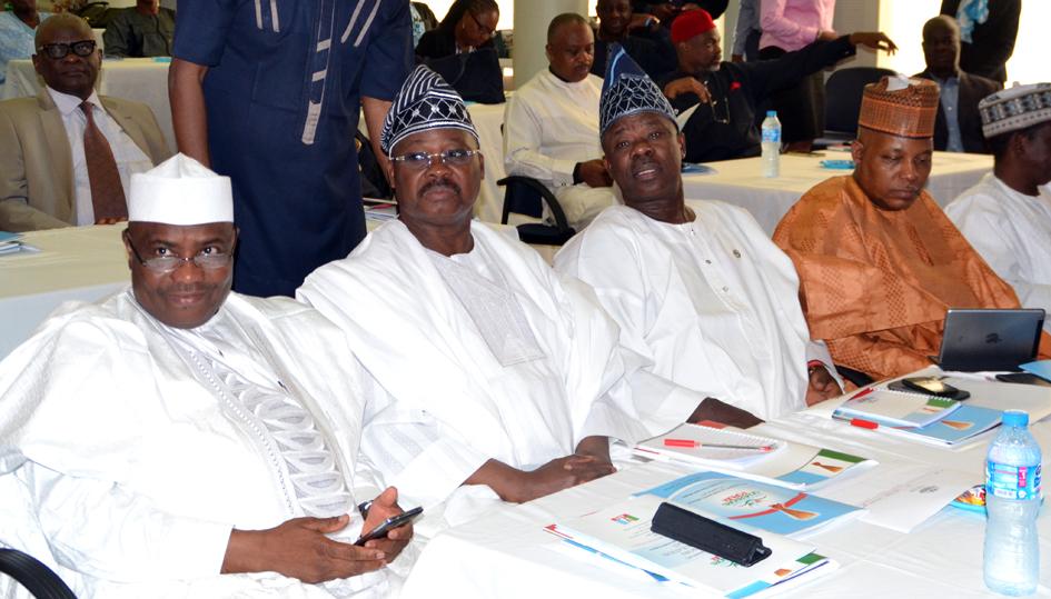 Speaker House of Representatives/Sokoto state Governor Elect, Hon. Aminu Waziri Tambuwal, Oyo state Governor Elect, Senator Abiola Ajumobi , Ogun state Governor Elect, Ibikunle Amosun and Borno state Governor Elect, Alhaji Ibrahim Kashim Shettima, during the Retreat of APC Governors  Elect in Abuja
