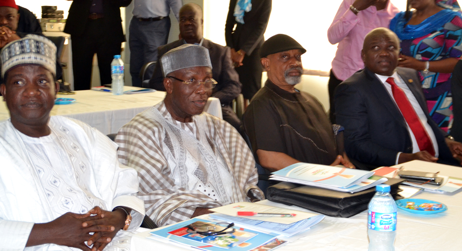 Plateau state Governor Elect, Mr. Simon Lalong, APC Chieftain, Chief Audu Ogbeh, Senator Chris Ngige and Lagos state Governor Elect, Mr. Akinwumi Ambode, during the Retreat of APC Governors Elect in Abuja