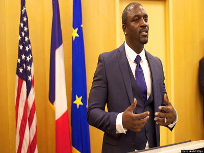 Akon speaking on his project PHOTO: huffingtonpost.com