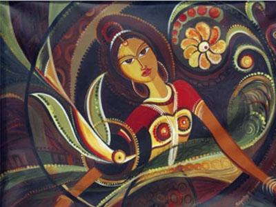 Adolescence, Acrylic on canvas, 150x120cm, 1999 by Dr Sukanthy Egharevba