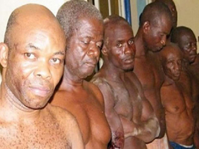 Onwuka (left) and other members of Biafra Ziuonist Movement in police custody. PHOTO: pulse.ng