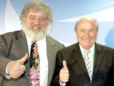 Chuck Blazer (left) and FIFA President, Joseph 'Sepp' Blatter before the bubble burst.