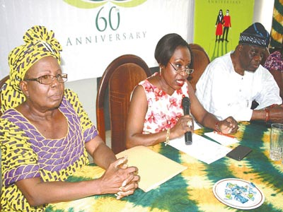 Council Member, Federal Nigeria Society for the Blind (FNSB); Mrs Yinka Adedoyin; chairman, Mrs  Biola Agbaje; and past chairman of the society, Chief Olu Falomo at the FNSB annual 'May Ball' event press conference held in Lagos at the weekend.