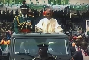 President Buhari inspecting guards of honour shortly after being sworn in