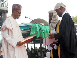 President Buhari taking oath of office...on Friday. PHOTO: NAN