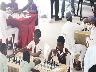 Students participating in the PwC Chess4Change Grand Slam at the Kings College, Victoria Island…last week.