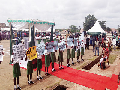 Children sending messages to the government on Children's Day at Gani Fawehinmi Freedom Square, Akure, Ondo State  ...yesterday