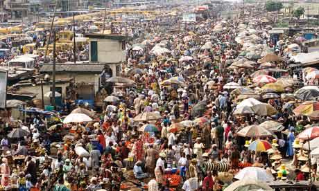 Crowded Oshodi Market in Nigeria