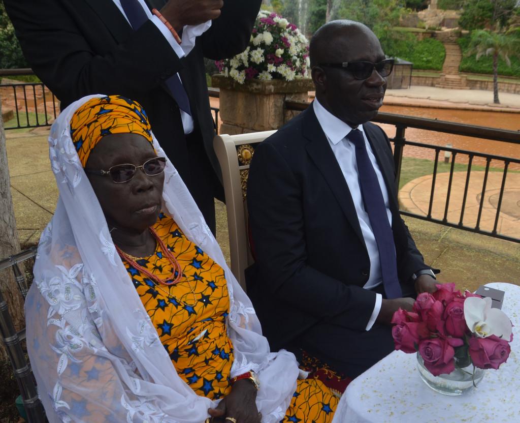 Mother of the groom, Hajia Aishetu Oshiomole and Mr. Godwin Obaseki, Chairman, Edo State Economic Team at the wedding registry