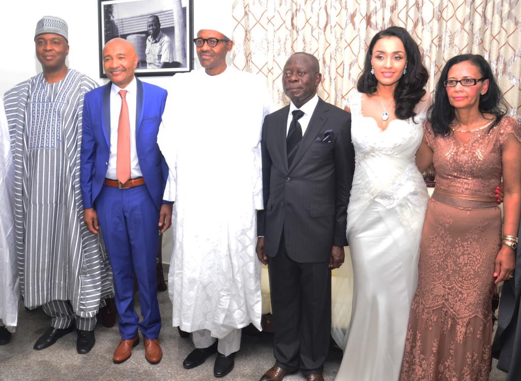 From left: Senator Bukola Saraki, president-elect, Gen. Muhammadu Buhari, Governor Adams Oshiomole; his wife, Iara Oshiomole; parents of the bride, Mr. and Mrs. Fortes; and vice president-elect, Prof. Yemi Osinbajo