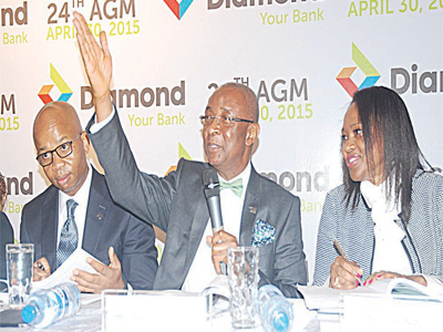 Group Managing Director/CEO Diamond Bank Plc, Uzoma Dozie; Chairman, Dr Chris Ogbechie; and Company Secretary, Ms Nkechi Nwosu at the 24th yearly General Meeting of the Bank in Lagos 										                                     PHOTO; SUNDAY AKINLOLU