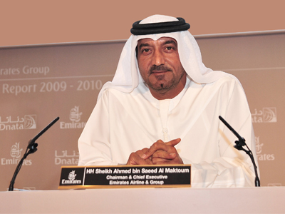 His Highness Sheikh Ahmed bin Saeed Al-Maktoum, Chairman and Chief Executive, Emirates Airline and Group. Photo: Emirate