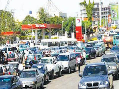 Fuel scarcity long queue